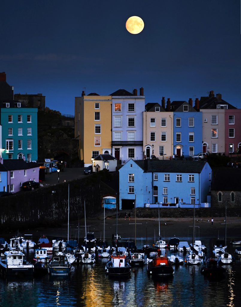 Tenby Harbour full moon
